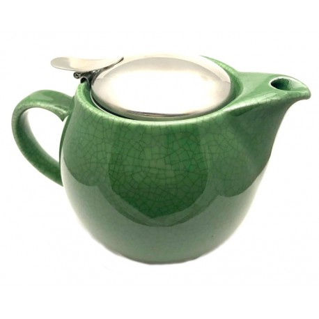 Forest Green Crackle Bee House Tea Pot - 15oz